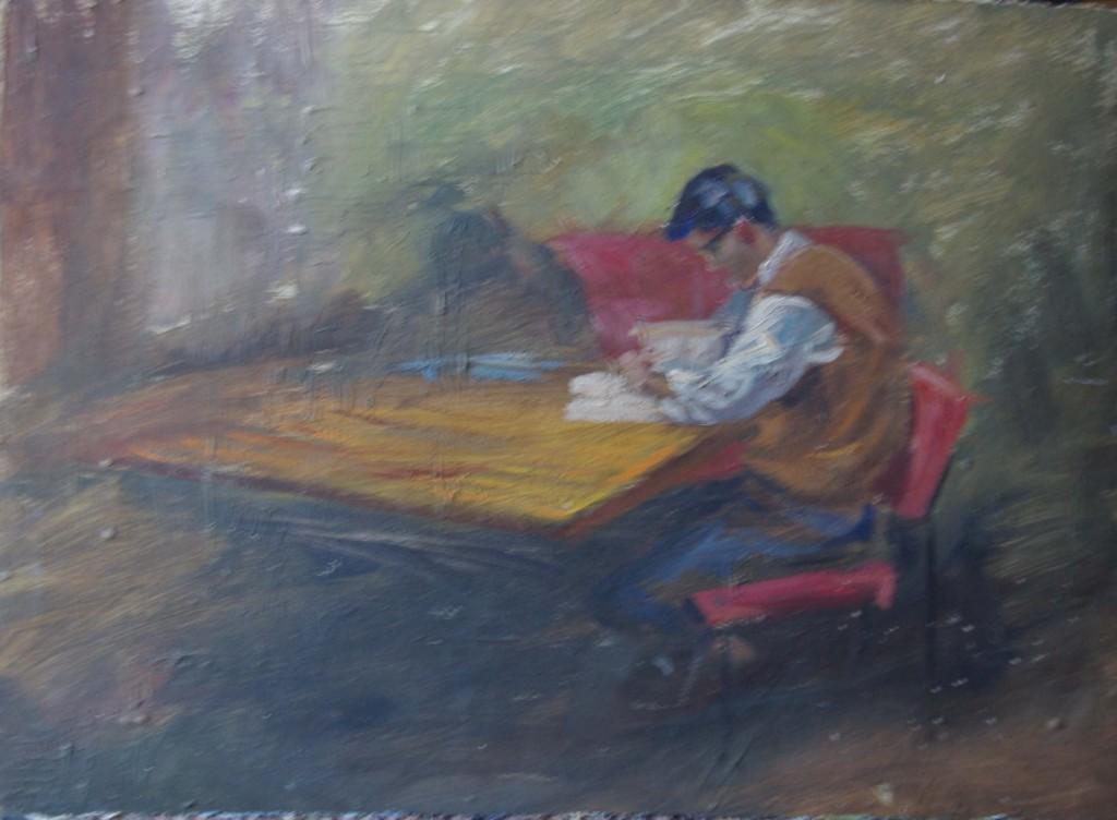 Martín estudiando